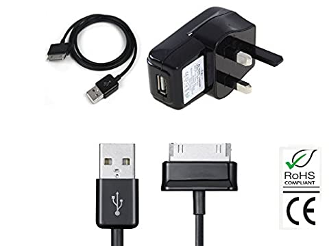 HNPtech Uk Wall Charger and USB Data Cable Samsung Android Tablet Galaxy Note 10.1 N8000, N8010, 8013, Tab 2 P3100/ P3110, P5100 / P5110, Tab 7.7 P6800 / P6810, Tab 8.9, Tab
