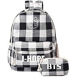 Ddong Unisex Estuches de Lápices Pencil Case Bolsas de Papelería + Moda Mochilas Backpack Bolsos Daypacks BTS Impresión School Bag Sets para Niños y Niñas
