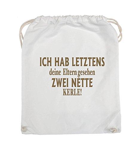 Comedy Bags - Ich hab letztens deine Eltern gesehen zwei nette Kerle! - Turnbeutel - 37x46cm - Farbe: Schwarz / Pink Weiss / Hellbraun