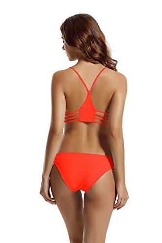 Zeraca Damen Strap Side Bikinihosen Racerback Bikini Sets Bademode Coral Braze