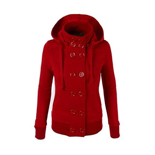 OverDose Femmes d'hiver chaude à double boutonnage à capuchon Longue Svelte Manteau de veste Vêtements d'extérieur Rouge
