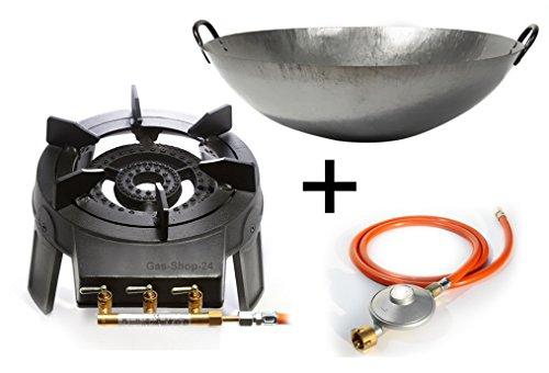 Wokbrenner Set / Gaskocher 9,2 KW mit Gasschlauch + Druckminderer + 45 cm Stahl Asia-Wokpfanne (Gusseisen Hockerkocher, Asia Kocher, Gastrokocher, Gasherd, Campingkocher für Wok)