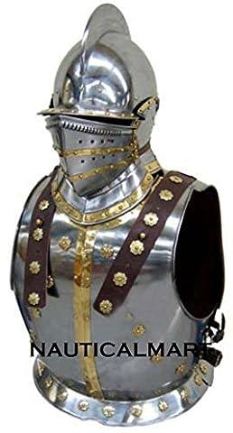 MEDIEVAL KNIGHT BREASTPLATE ARMOR WITH BERGONET HELMET
