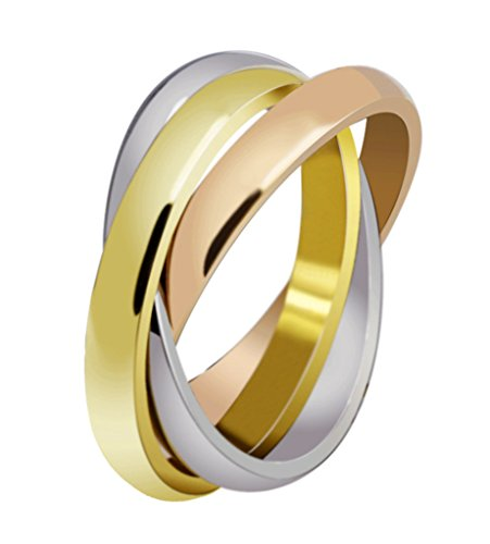 Vnox Frauen Edelstahl russischen Tri-color verschachtelte Trinity Ring für Hochzeit Engagement Versprechen,Größe 59 (18.8) (Ring Immer Versprechen Für)