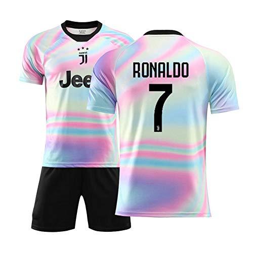 7# Ronaldo Fußball Jersey Anzug Für Kinder-Unisex Trainingshemden Herrenhemden + Herren Shorts Weiß Anzug Athlete's Jersey Fan's Gear Fans Sweatshirt, Kinder Geschenk-White-140