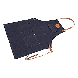 Denim Bib Apron Adjustable Chef Apron with Leather Strap Pockets for Men Women Working Cooking Gardening Crafting