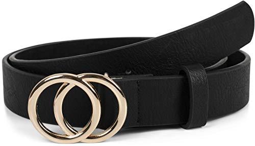 styleBREAKER Damen Gürtel Unifarben mit Ringschnalle, Hüftgürtel, Taillengürtel 03010093, Größe:95cm, Farbe:Schwarz-Gold