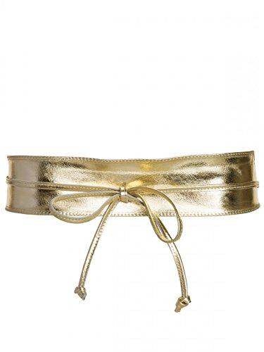 Cintura fusciacca in pelle da donna larghezza 8cm in dorato