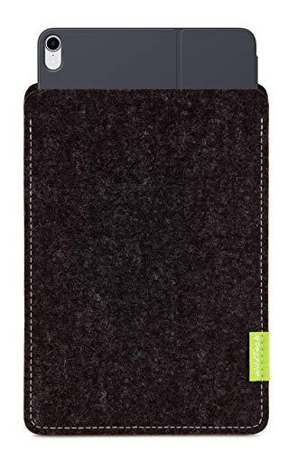 WildTech Sleeve für Apple iPad Pro 11 (2018) geeignet für Smart Keyboard Folio (extra breit) Hülle Tasche aus echtem Wollfilz (Handmade in Germany) - Anthrazit