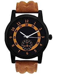 Raiyaraj New Analog Black Dial Brown Leather Belt Watch For Men And Boys