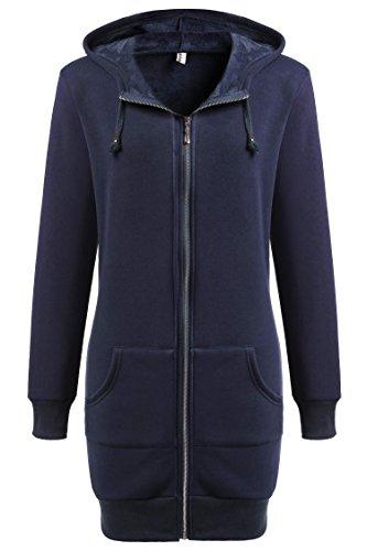 Zeagoo sportivi invernali da donna, modello casual-felpa con cappuccio e cerniera, con maglia in pile blu xxl