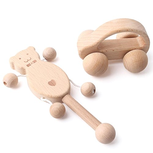 baby tete 2Pcs Beech orgánica de madera de coches/cascabeles Montessori inspirado juguetes para bebés lactantes burbujas bebé divertido e interesante juguetes