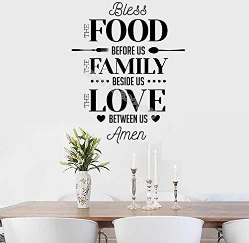 yiyiyaya Gebet Wandaufkleber Segne das Essen vor Uns Die Familie neben Uns Die Liebe zwischen Uns Amen Zitat Esszimmer Küche Wandbild56 * 70cm