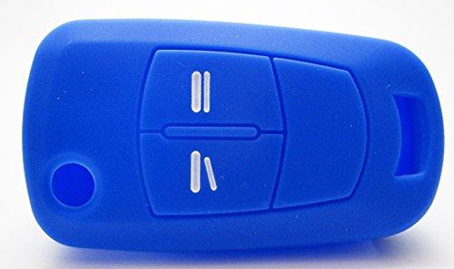 Gradert-Elektronik 1x Blaue Autoschlüsselhülle - Opel 2 Tasten - Silikonhülle - Fernbedienung - Schlüsselhülle - Key Cover - Schutzüberzug - Klappschlüssel - Gehäuse - Tasche - Silikoncover