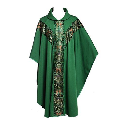 BLESSUME Priester Celebrant Messgewand katholisch Kirche Vater Masse Gewänder Robe mit Stickerei Rot Grün