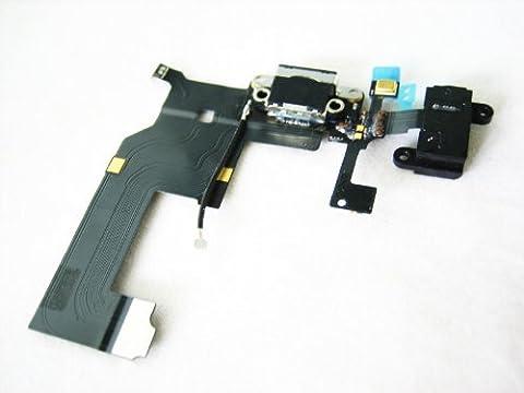 iPhone 5 ~ Black USB Dock Charging Port Microphone & Headphone Jack Flex Cable Ribbon ~ Mobile Phone Repair Part Replacement