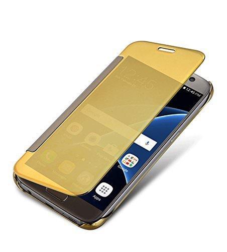 Jotech® Mirror Flip Cover for Samsung Galaxy J7 2016 New Model/J710F/J7(6) - (Gold)