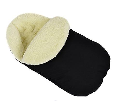 Chancelière universelle pour poussette d'hiver pour coque bébé sac de couchage footmuff Laine Black avec capuche [071]