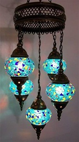 Mosaic Chandelier Set 5 Globe, Handmade Authentic Tiffany Lighting Moroccan Lamp Glass Stunning Bedside Night Lights Brass&Glass Ottoman Turkish Style