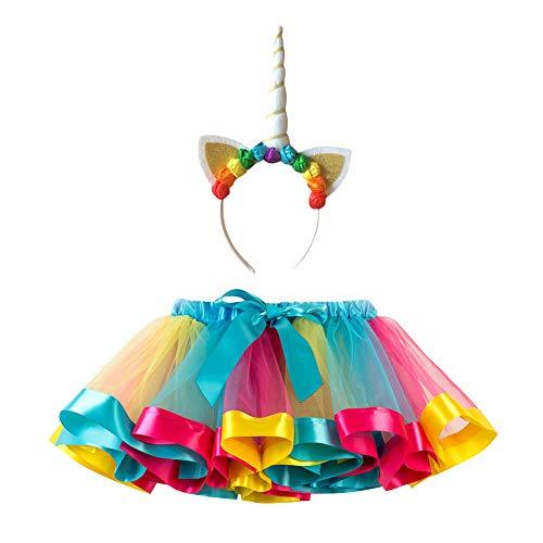 Kinder Mädchen Plissee Tutu Rock Tüllrock Regenbogen Ballettrock Tanzkleid Faltenrock Pettiskirt mit Einhorn Blumen Kopfschmuck, Eisblau+GelB+Pink RT078H/ Weiß, M ()