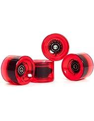 Longboard , ruedas , Wheel Set, set de ruedas   78A - 70mm   de la marca exclusiva Apollo   Rodamiento de bolas ABEC-7 incluido   Color: bottle red