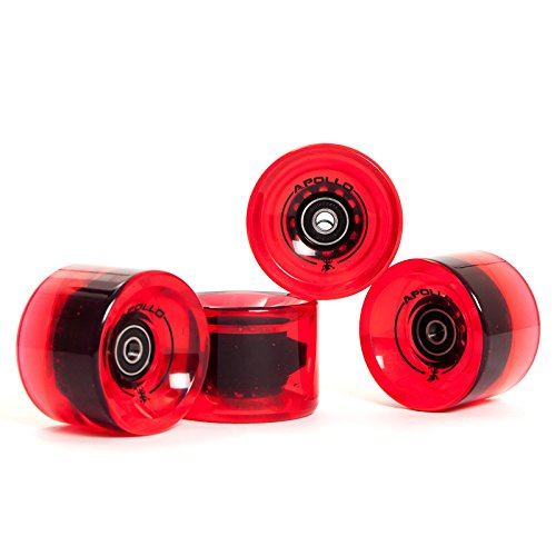 Apollo Longboard, Ruedas, Wheel Set, Set de Ruedas | 78A - 70mm | de la Marca Exclusiva Rodamiento de Bolas ABEC-7 Incluido | Color: Bottle Red