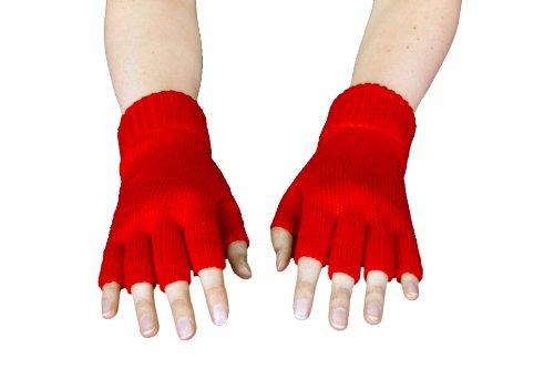 Strick-Handschuhe, fingerlos, Rot