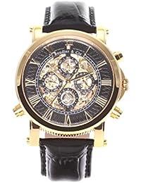 Boudier & Cie SK14H036 - Reloj Esqueleto Automatico Analogico para hombre, Esfera negra, Carcasa dorada de Acero inoxidable, Correa de Cuero negro
