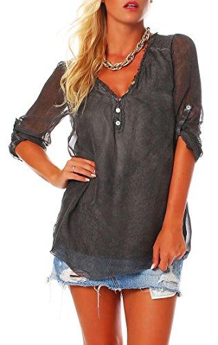 malito Damen Bluse aus Seide | Tunika mit ¾ Armen | Blusenshirt mit Spitze | edles Oberteil – Shirt 6705 (dunkelgrau) (Aus Seide Schulter-bluse)