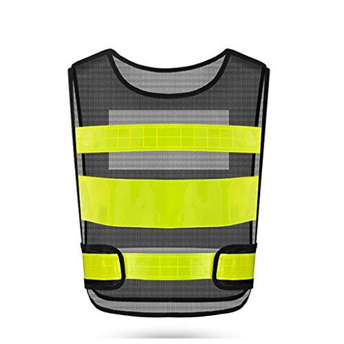 Warnweste Warnkleidung Sichtbarkeit Weste Verkehrssicherheit Fluoreszierende Weste Anzug Radjacke Ausrüstung Weste Reflektierendem (Color : Black)