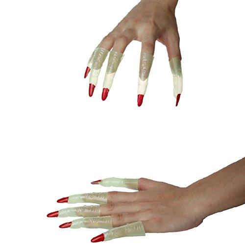 �lschte Nägel Halloween Maskerade Requisiten Party Anzieh Zombie Hexe Finger Set Luminous Ghost Nagel Sets Leuchtender Nagel (Halloween Gefälschte Nägel)
