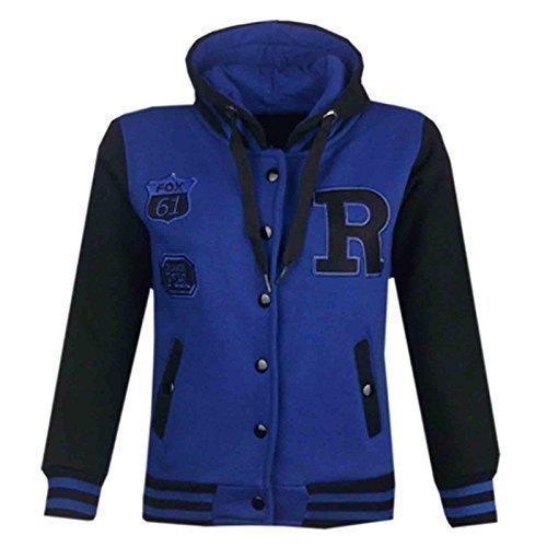 Unisex Kinder Baseball R Mode Mit kapuze JACKE - B.B Jacket Royal & Black 7-8 (Royal Jackets Green)