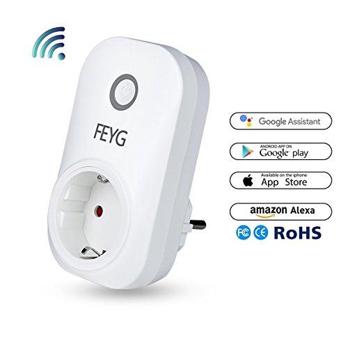 Intelligente Alexa Steckdose, FEYG WLAN Smart Plug Arbeit mit Amazon Alexa Echo und Google Home, mit App Steuerung überall und zu jeder Zeit, Zeitsteuerung Energiesparfunktion Kein Hub erforderlich