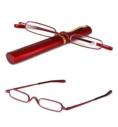 Optik Pocket Reader + 1 bis 3,5 M/änner Frauen faltbare Presbyopie Hyperopie Brille EnzoDate Flexible Mini Falt-Lesebrille mit Etui