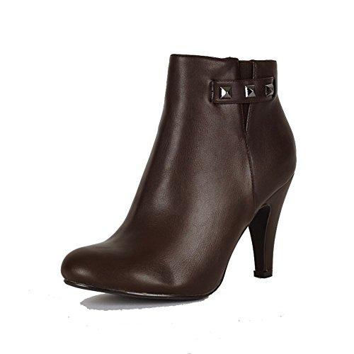 Ladies moyen haut talon bottines avec goujons et côté élastique v brown