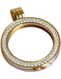 Quoin Damen-Münzfassung Rahmen für Münzen Größe: L Vergoldet teilvergoldet Zirkonia weiß - QHO-06L-G