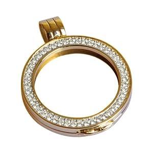 Quoin Damen-Münzfassung Rahmen für Münzen Größe: L Vergoldet teilvergoldet Zirkonia weiß – QHO-06L-G