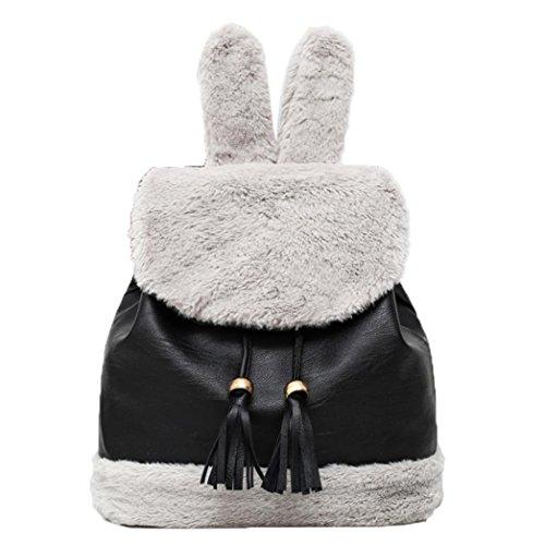 Longra Peluche in inverno delle donne + Peluche artificiale Zaino dello zaino dello zaino dell'Istituto di decorazione dell'orecchio del coniglio (Nero)