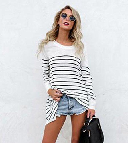Baymate Femme Rayure Épissure T-Shirt Chic Tops Manches Longues Col Rond Lâche Sweat-Shirt Hauts Blouse Blanc