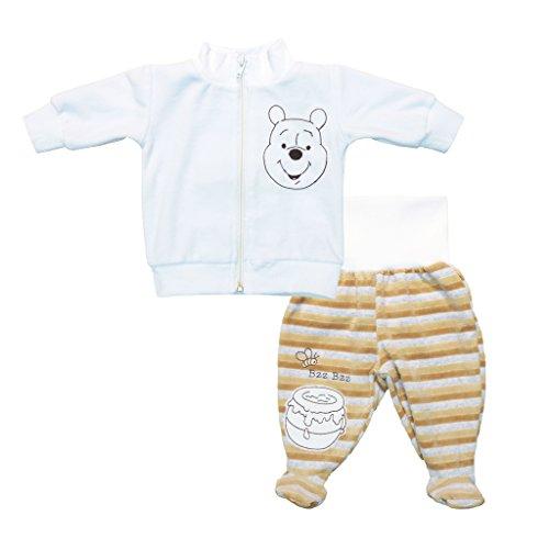 Winnie Pooh 2Teiler Baby-Set warmes für Jungen, Nicki Plüsch Stoff, ideal für Winter auch als Geschenk, in Grösse 62 68 74 80 86, Beige, Weiss, Baby-Jacke und Baby-Hose, dick Farbe Hell, Größe 62