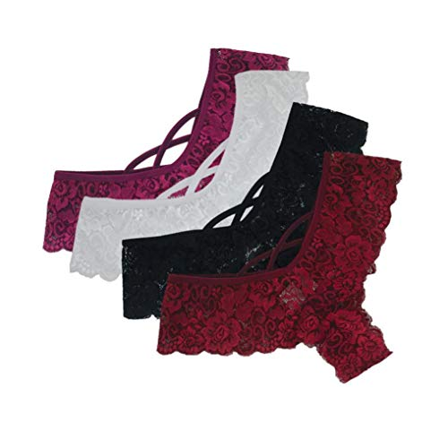 Holeider 4 Stück Damen Sexy Dessous Set Erotik Spitze Blumen Niedrige Taille Unterwäsche Höschen G-String Thongs Frauen -