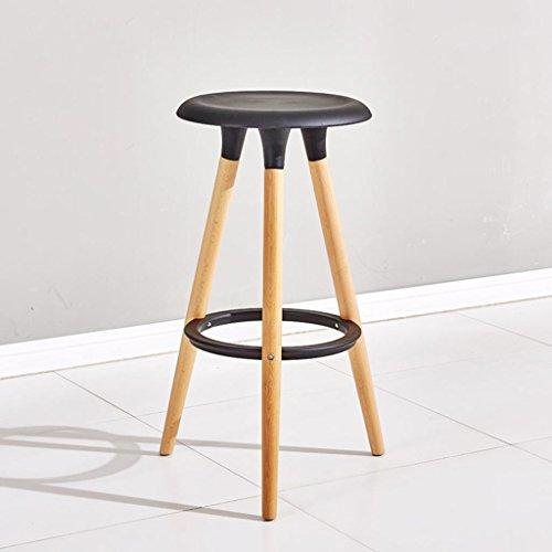 MNII Personnalité de la Mode Bois Massif Chaise de Bar Chaise de Bar Tabouret Haut Tabouret Rond Ménage 76 * 47 * 38 cm, Bar Chair (Black)- Beau mobilier