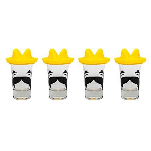 Thumbs Up Schnapsglas-Sombrero (4er Pack), Glas, durchsichtig/gelb 3.3 x 5.3 x 3.3 cm