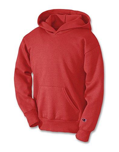 Champion Boys Big Boys' Powerblend Eco Fleece Pullover Hoodie, Scarlet, S