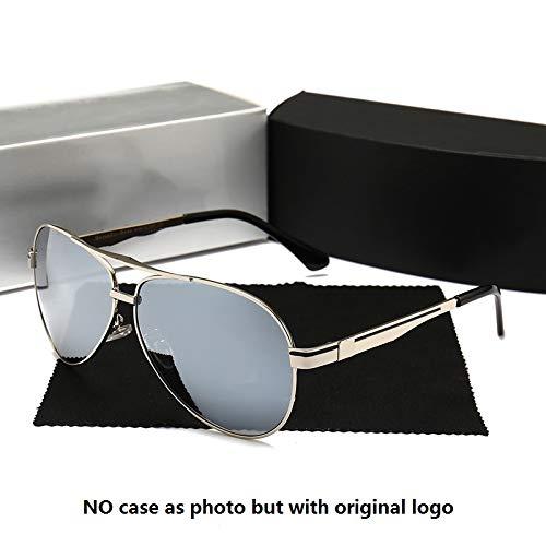 LKVNHP Neue Hochwertige Herren Sonnenbrille Polarisierte Frauen Aviation Brand Design Sonnenbrille Für Mann Fahren Polaroid Uv400 Große VerspiegeltSilber