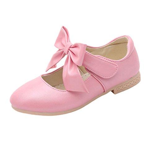Jimall Scarpe Bambina Principessa da PU Pelle Calzature Farfalla Ballerine Ragazza Rosa Lungo 19.2cm