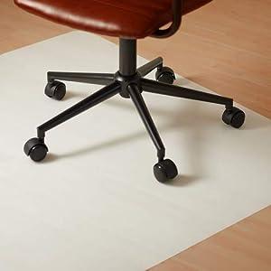 Relaxdays Bürostuhlunterlage 90 x 120 cm, Kratzfeste PE Bodenschutzmatte, schalldämmende Unterlegmatte für Büro, weiß
