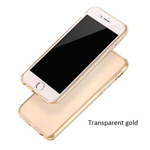 Vorne Hinten TPU Rundumschutz Cover Handyhülle für Apple iPhone 5G 5S SE Smartphone - Yihya [ Full Body ] Dünn Transparente Gel Silikon Schutz Hülle Schutzhülle Protection Case Tasche - Rose Gold Gold