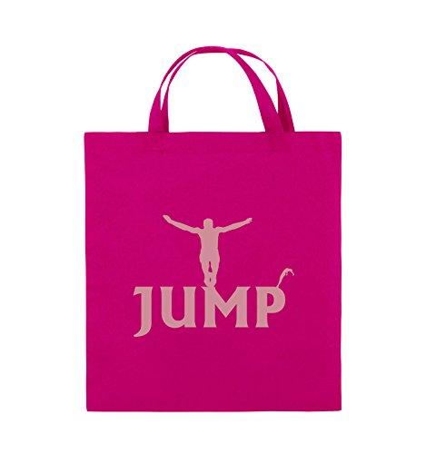 Borse Comedy - Jump - Figure - Borsa In Juta - Manico Corto - 38x42cm - Colore: Nero / Rosa Rosa / Rosa
