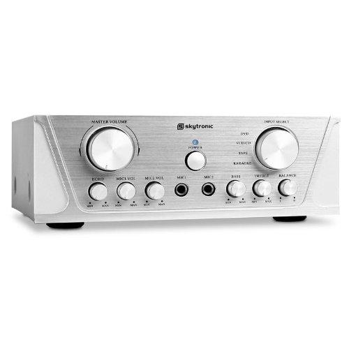 Skytronic Ampli HiFi Compact avec Fonction Karaoke (2 x 360W max. , Section micro avec 2 entrées , Equalizer) - Gris